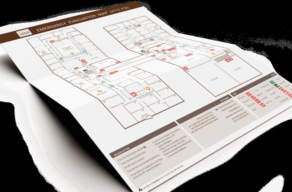 מפות מילוט ובהן מסומנות דרכי מילוט מהבניין בעת חירום